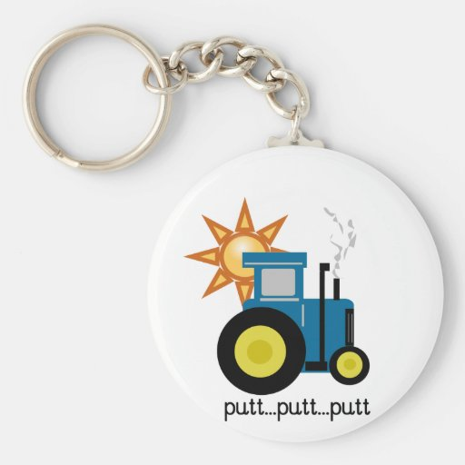 Blue Putt Putt Tractor Tshirts and Gifts Keychain