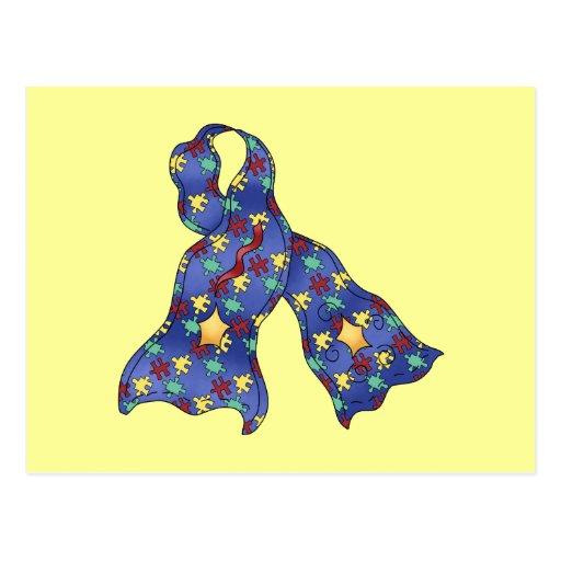 Blue Puzzle Autism Aspergers Awareness Ribbon Post Cards