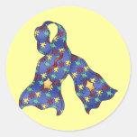 Blue Puzzle Autism Aspergers Awareness Ribbon Round Sticker