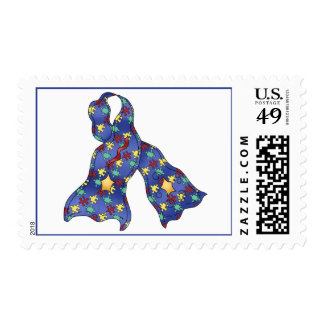 Blue Puzzle Autism Awareness Ribbon Postage