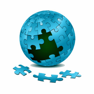 blue puzzle globe pieces fall out eco graphic.png standing photo sculpture