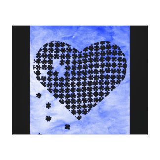 Blue Puzzle Heart Stretched Canvas Prints
