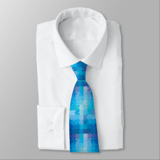 Blue Puzzle Pattern Autism Awareness Tie