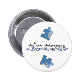 Blue Puzzle Pieces - Autism Awareness Button