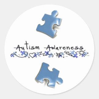 Blue Puzzle Pieces - Autism Awareness Classic Round Sticker