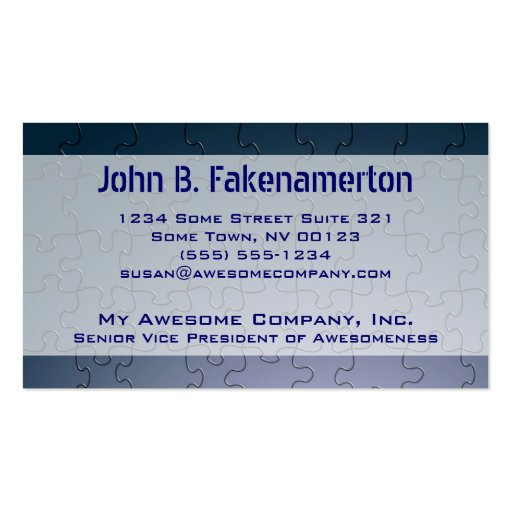 Blue Puzzle Pieces Look Business Card