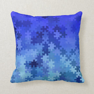 blue puzzle throw pillow