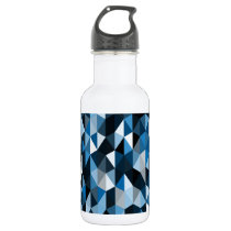 blue pyramid pattern 07 stainless steel water bottle