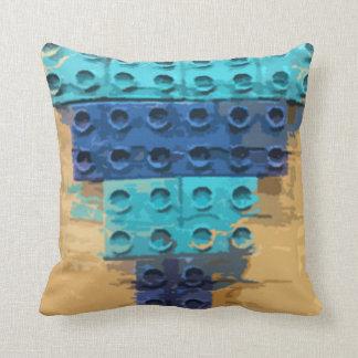 Blue Pyramid Throw Pillow