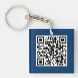 Blue QR CODE Custom Key Chain
