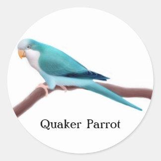 Blue Quaker Parrot Classic Round Sticker