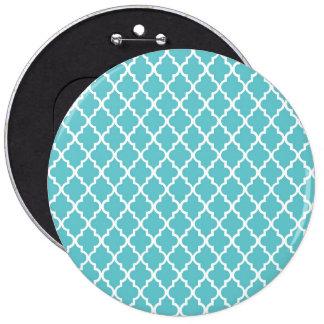 Blue Quatrefoil 6 Inch Round Button