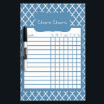 """Blue Quatrefoil Chore Chart Dry Erase Board<br><div class=""""desc"""">Blue Quatrefoil Dry Erase Chore Chart. Attach to the fridge or wall to keep track of the kid&#39;s daily chores. Available in several sizes and other colors.</div>"""