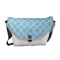 Blue Quatrefoil Clover Messenger Bag