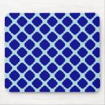Blue quatrefoil design mousepads
