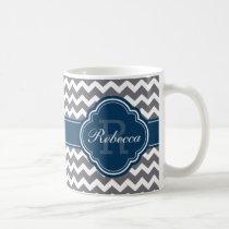 Blue Quatrefoil Monogram Gray Chevron Pattern Coffee Mug