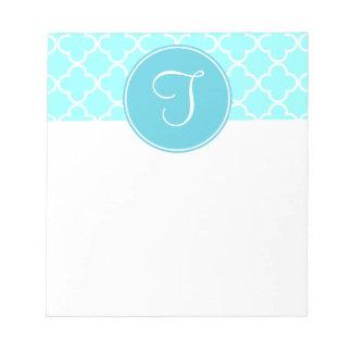 Blue Quatrefoil Monogram Notepad