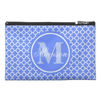 Blue Quatrefoil Monogrammed Travel Accessory Bag