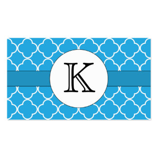 Blue Quatrefoil Pattern Double-Sided Standard Business Cards (Pack Of 100)