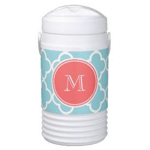 Blue Quatrefoil Pattern, Coral Monogram Beverage Cooler