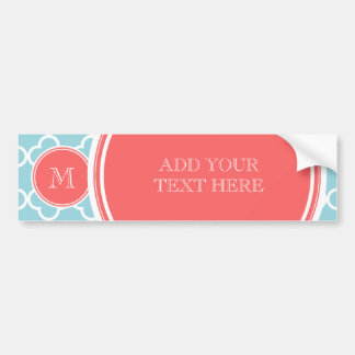 Blue Quatrefoil Pattern, Coral Monogram Bumper Sticker