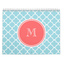Blue Quatrefoil Pattern, Coral Monogram Calendar