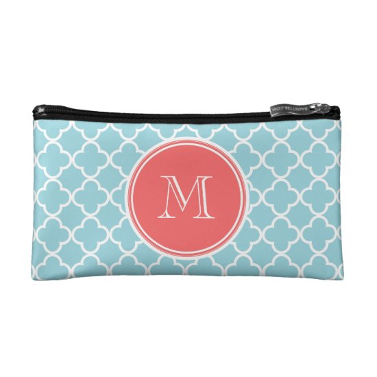 Blue Quatrefoil Pattern, Coral Monogram Cosmetic Bag
