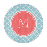 Blue Quatrefoil Pattern, Coral Monogram Cutting Board