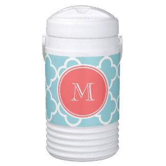 Blue Quatrefoil Pattern, Coral Monogram Igloo Beverage Cooler