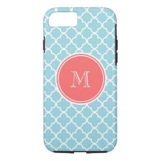 Blue Quatrefoil Pattern, Coral Monogram iPhone 8/7 Case