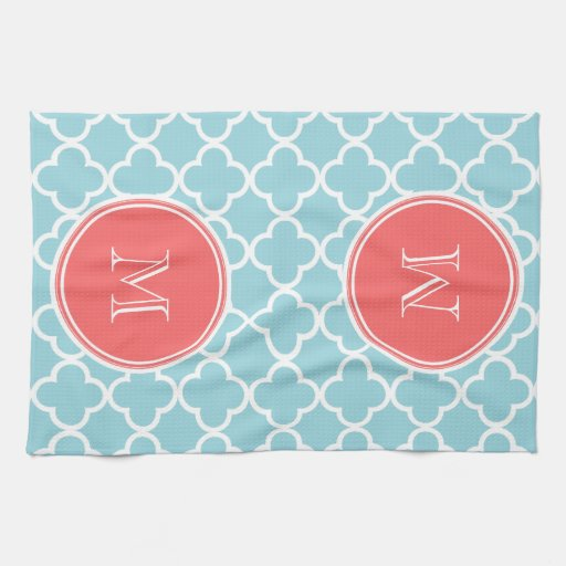 6 Tips To Using Coral In The Kitchen: Quatrefoil Pattern Kitchen Towels, Quatrefoil Pattern Hand