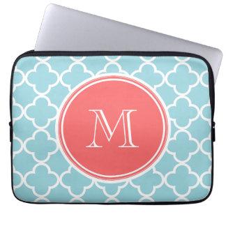 Blue Quatrefoil Pattern, Coral Monogram Laptop Sleeve