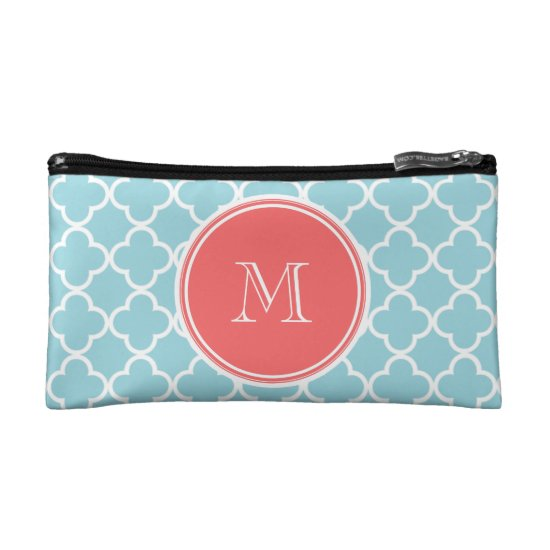 Blue Quatrefoil Pattern, Coral Monogram Makeup Bag