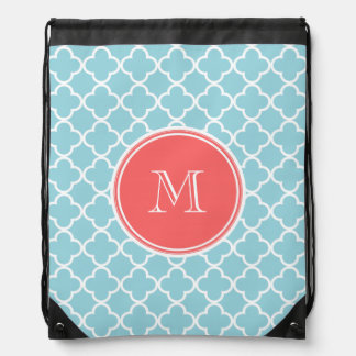 Blue Quatrefoil Pattern, Coral Monogram Drawstring Bags