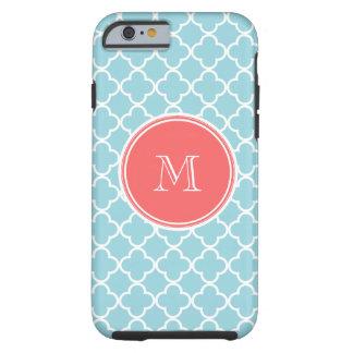 Blue Quatrefoil Pattern, Coral Monogram Tough iPhone 6 Case