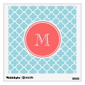 Coral Quatrefoil Wall Decals Wall Stickers Zazzle - Coral monogram wall decal