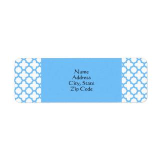 Blue Quatrefoil Pattern Return Address Label