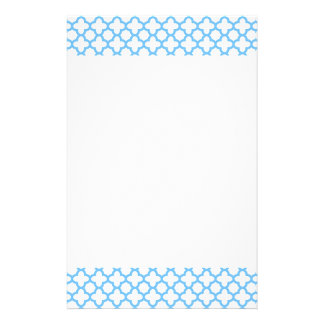 Blue Quatrefoil Pattern Stationery Design