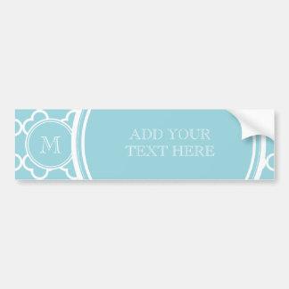 Blue Quatrefoil Pattern, Your Monogram Bumper Sticker