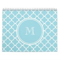 Blue Quatrefoil Pattern, Your Monogram Calendar