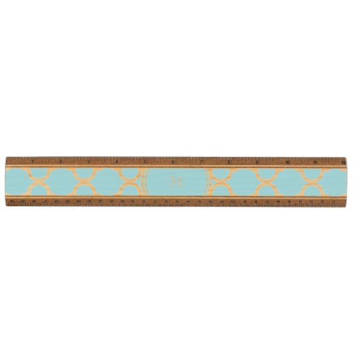 Blue Quatrefoil Pattern, Your Monogram Maple Ruler