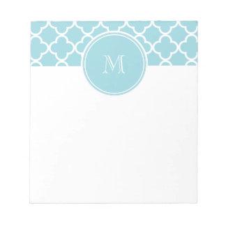 Blue Quatrefoil Pattern, Your Monogram Scratch Pad