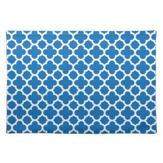 Blue Quatrefoil Trellis Pattern Cloth Placemat