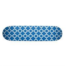 Blue Quatrefoil Trellis Pattern Skateboard Deck