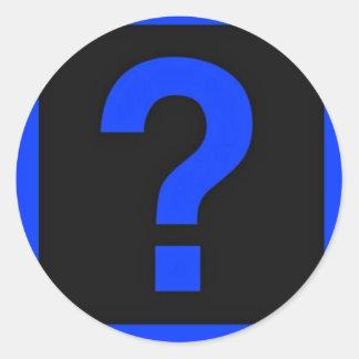 Blue Question Mark Information Area Classic Round Sticker