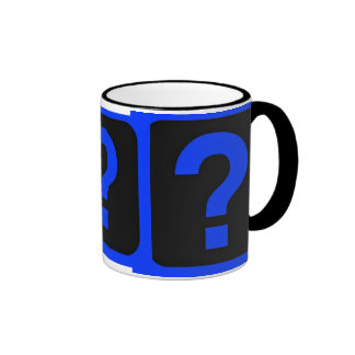 Blue Question Mark Information Area Ringer Coffee Mug