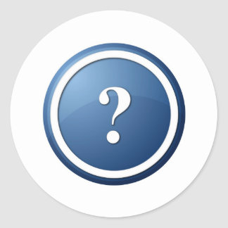 blue question mark round button classic round sticker