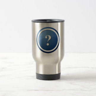 blue question mark round button 15 oz stainless steel travel mug