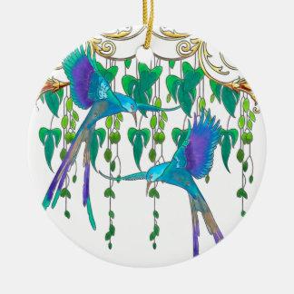 Blue Quetzal Bird Ceramic Ornament