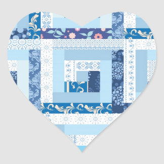 Blue Quilt Heart Sticker